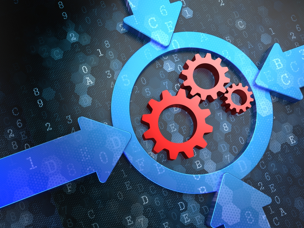 Cogwheel Gear Mechanism Icon Inside the Target on Digital Background. Business Concept.